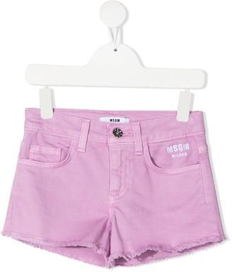 Msgm Kids Embroidered Logo Denim Shorts