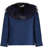 Sonia Rykiel Detachable fox-fur collar tie-back sweater