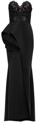 Badgley Mischka Strapless Guipure Lace-paneled Layered Scuba Gown