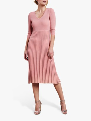 Pure Collection Pleat Detail V Neck Knitted Dress