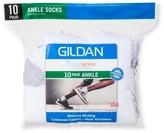 Gildan Men's 10Pk White Ankle Socks