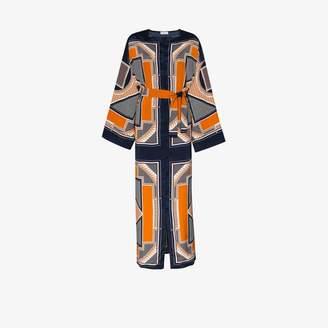 Rosetta Getty Womens Blue Geometric Print Silk Kaftan Maxi Dress