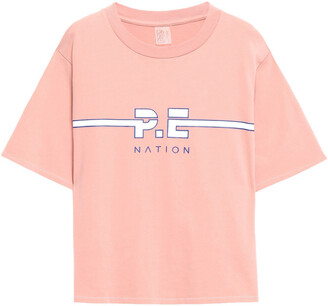 P.E Nation Active Duty Printed Cotton-jersey T-shirt