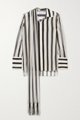 Monse Fringed Tie-neck Striped Plisse Silk-chiffon Shirt - Black