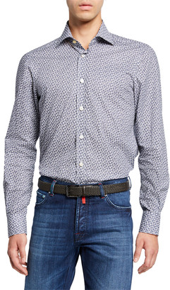Kiton Men's Navy Micro Floral-Print Cotton Shirt