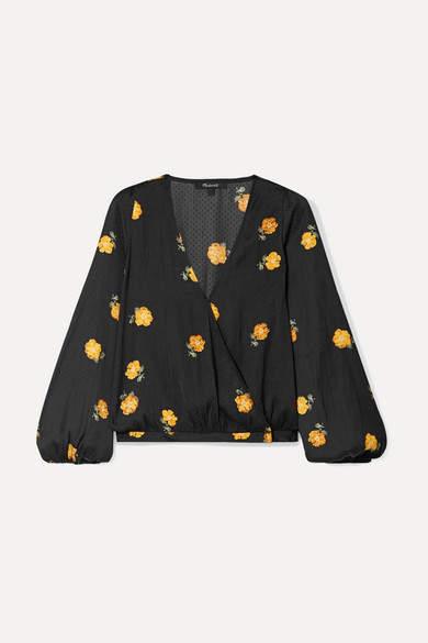 Madewell Floral-print Crepe De Chine Wrap Top - Black