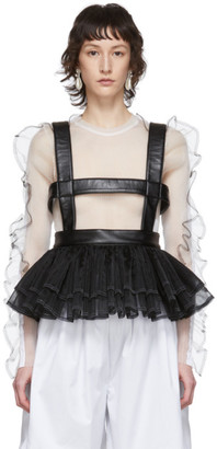 Noir Kei Ninomiya Black Faux-Leather and Tulle Corset