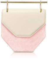 M2Malletier Amor Fati Ivory Leather & Blush Suede Shoulder Bag