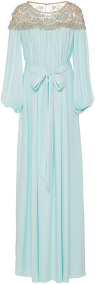 Marchesa Crystal And Pearl Embellished Silk-Georgette Caftan Dress