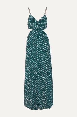 Vix Ventana Ocean Cutout Printed Voile Maxi Dress - Navy