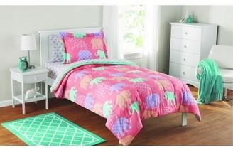Mainstays Kids Elephant Bed in a Bag Complete Comforter Set, Full