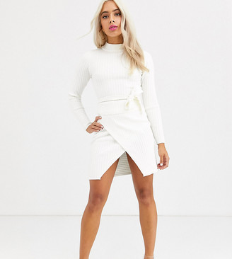 Asos DESIGN Petite two-piece rib mini skirt with wrap detail