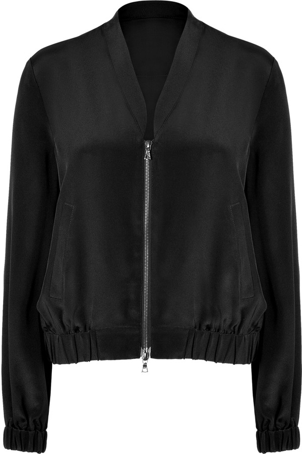 Tibi Black Silk Bomber Jacket