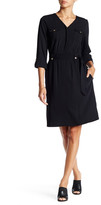 Ellen Tracy 3/4 Sleeve Pleated Dress