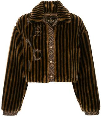 Fendi Pre Owned Striped Faux Fur Jacket