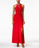 Night Way Nightway Petite Lace-Up Illusion Halter Gown