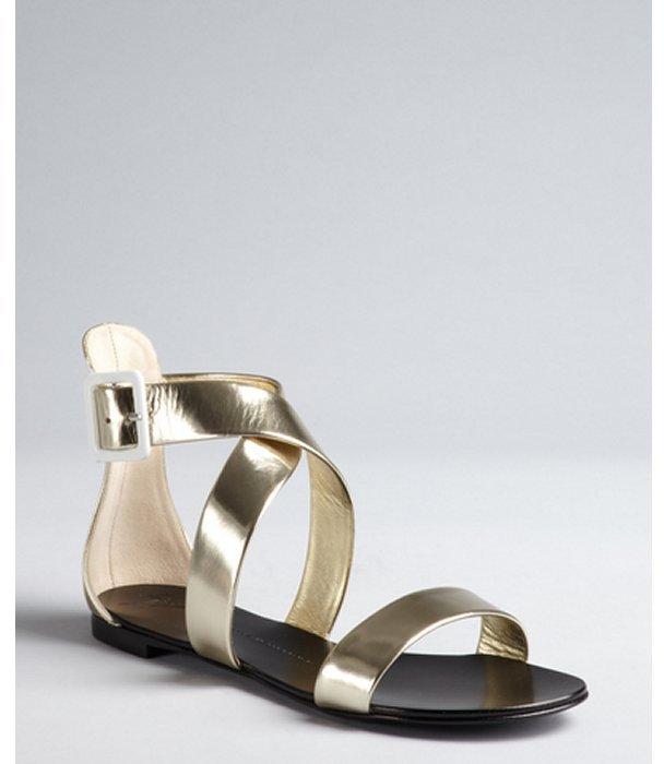 Giuseppe Zanotti platinim mirrored leather heel zip gladiators sandals