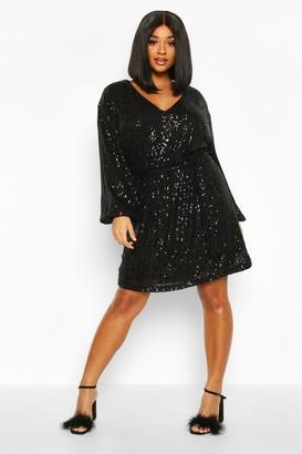 boohoo Plus Sequin Belted Blouson Sleeve Wrap Dress