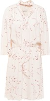 Joie Dakoda Gathered Floral-print Crepe De Chine Mini Dress
