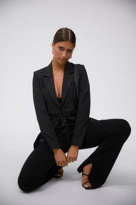 Good American Lace Up Rib Pant | Black001