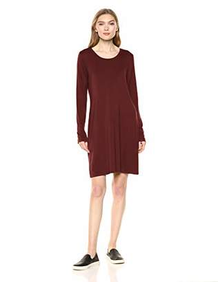 Daily Ritual Jersey Long-Sleeve Scoop-Neck T-Shirt Dress Casual,(EU S - M)