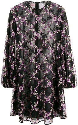 Giamba Embroidered Floral Mesh Dress