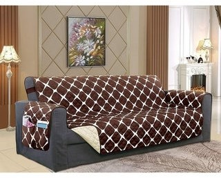 Elegant Comfort Reversible Bloomingdale Pattern Quilted Oversized Sofa Furniture Protector