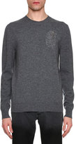 Alexander McQueen Beaded Feather Wool-Cashmere Crewneck Sweater