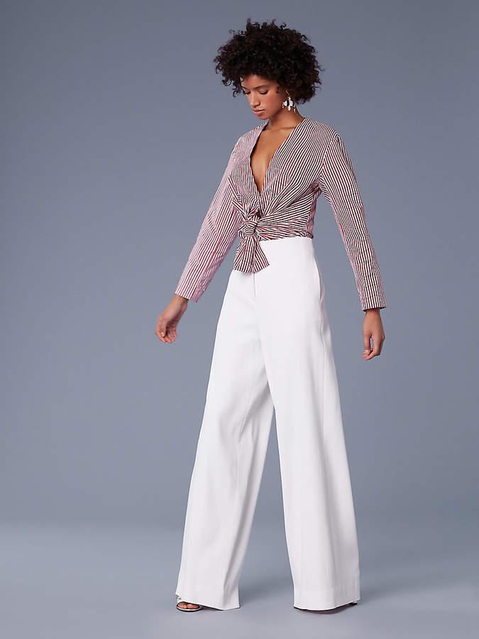 Diane von Furstenberg Long-Sleeve Waist Tie Blouse