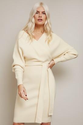 Little Mistress Rens Cream Mock Wrap Knit Dress
