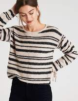 American Eagle Outfitters AE GATHERED SLEEVE STRIPE SWEATER
