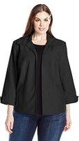 Napa Valley Women's Plus-Size Open Front Linen Look Jacket