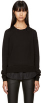 Moncler Black Long Sleeve Twist Knit T-Shirt