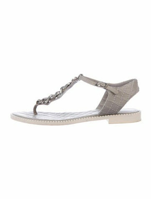 Chanel Interlocking CC Logo Leather T-Strap Sandals Grey