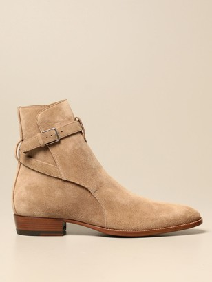 Saint Laurent Ankle Boots In Suede With Straps