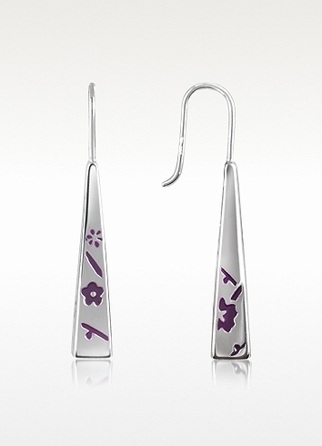 Kenzo Kyoto - Sterling Silver Purple Flower Drop Earrings