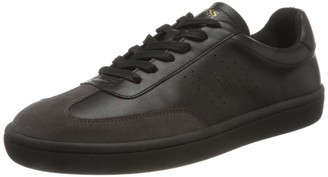 HUGO BOSS Mens Ribeira Tenn Tennis-Style Trainers in Smooth Leather with Suede Detailing White