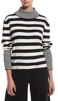 Joan Vass Striped Cotton Interlock Turtleneck, Petite