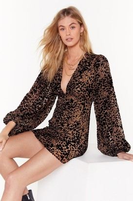 Nasty Gal Womens Dancing in the Dark Leopard Mini Dress - Brown - 4