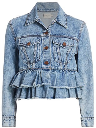 Alice + Olivia Fringed Peplum Cropped Denim Jacket