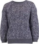 Brunello Cucinelli Chevron Sequin Embellished Pullover