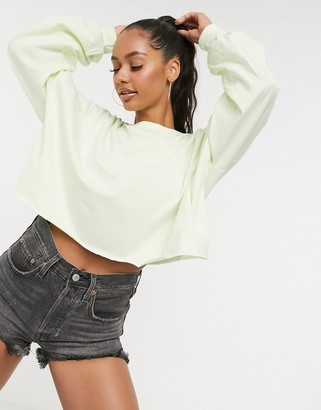 ASOS DESIGN super oversized cut off t-shirt with wide sleeve in lime
