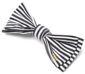 Hillier Bartley Striped-cotton Bow Hair Clip - Black White