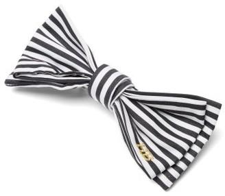 Hillier Bartley Striped-cotton Bow Hair Clip - Womens - Black White