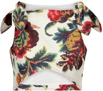 Sir. Ambroise floral linen crop top