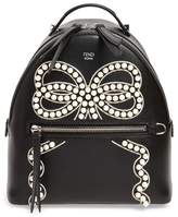 Fendi Mini Imitation Pearl Bow Leather Backpack