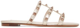 Valentino Gold Garavani Rockstud Cage Flat Slide Sandals