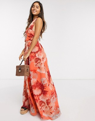 Y.A.S wrap front maxi dress in coral bold floral