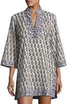 Tory Burch Scultura Beach Tunic Coverup Dress, White Pattern