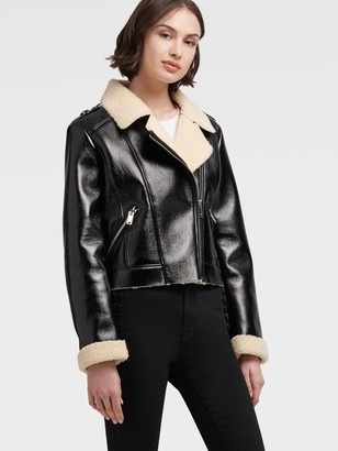 DKNY Faux Shearling Motorcycle Jacket